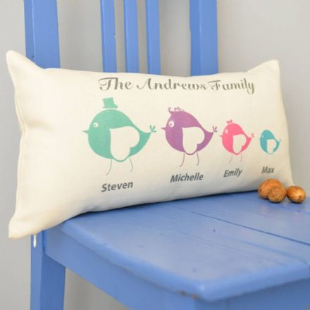 Personalised Birdie Family Rectangular Cushion